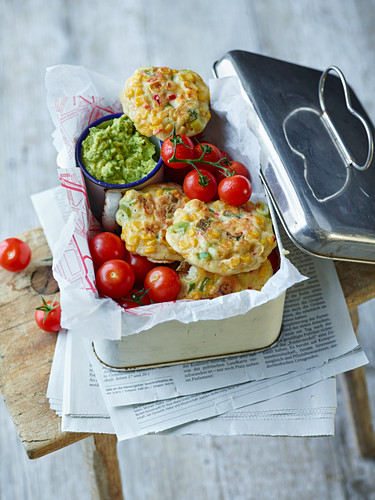 Sweetcorn fritters with guacamole to take away