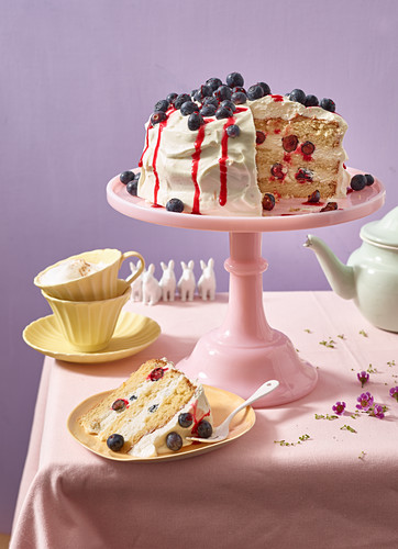 Layered blueberry cake