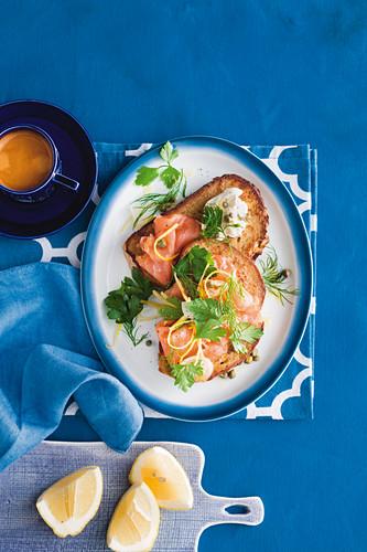 Smoked salmon french toast