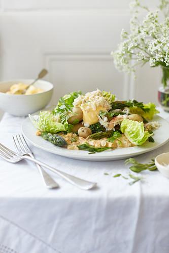 Crab, asparagus and jersey royal salad