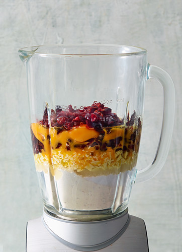 Ingredients for cranberry and nutmeg whoopie pies in a blender