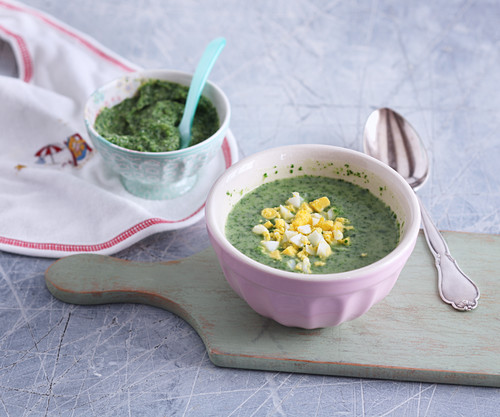 Cream of spinach and potato soup for mum and mashed for baby