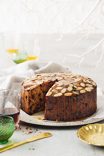 Brandy butter and maple syrup fruit cake