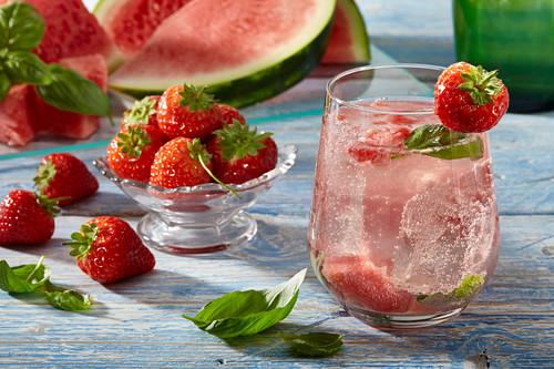 Aqua fresca with watermelon and strawberries