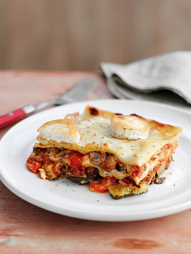 A portion of vegetable lasagne