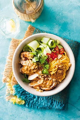 Coconut satay chicken noodle bowl
