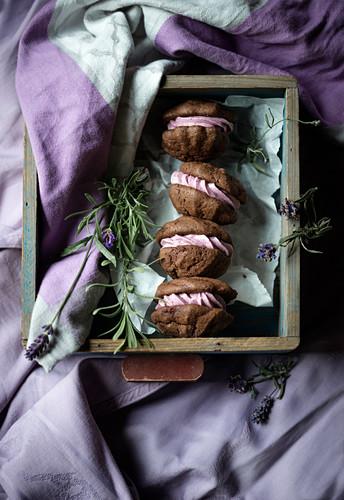 Vegan chocolate whoopie pies with lavender cream