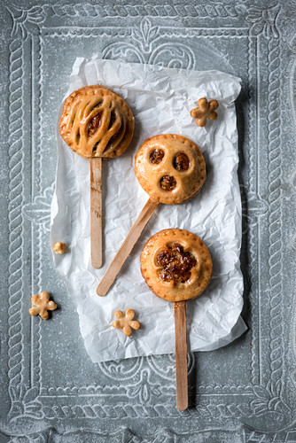 Vegan shortcrust pastry with a nut filling on sticks