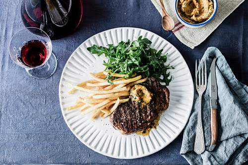 Chargrilled Sirloin Steak with Garlic Butter