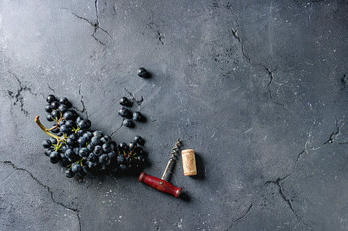 Bunch of fresh ripe dark blue Isabella grapes with old corkscrew and cork over black texture background