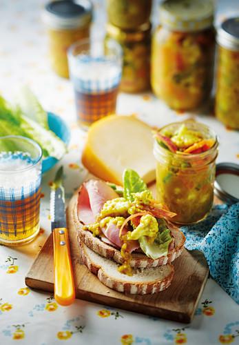 Piccalilli (pickled vegetables) on farmhouse bread
