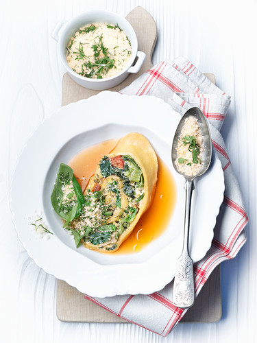 Pointed cabbage rolls with herb parmesan