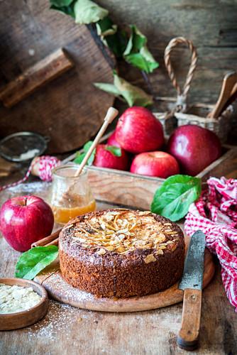 Apfelkuchen mit Roggenmehl und Honig