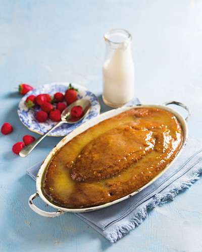 South African malva pudding with an apricot glaze