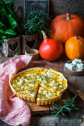 Pumpkin pie with feta cheese