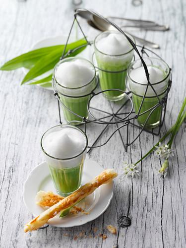 Wild garlic and potato cappuccino with cheese straws