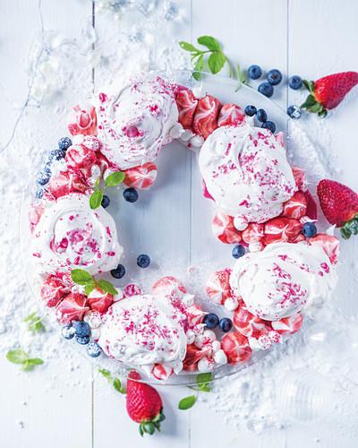 Meringues with berries