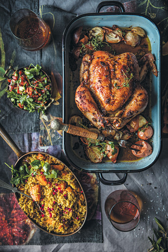 Masala roast chicken with pilaf
