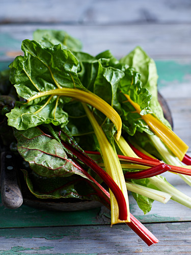 Colourful chard on a wooden surface