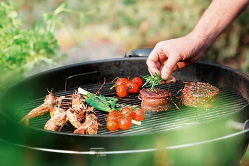 Langoustines, tomatoes and garnished medallions on a barbecue