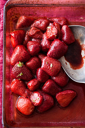 Caramelized strawberries in a baking dish