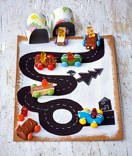 Chocolate bar racing cars
