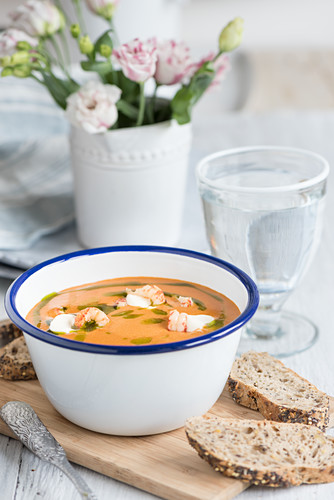 River crab soup with chive oil (Scandinavia)