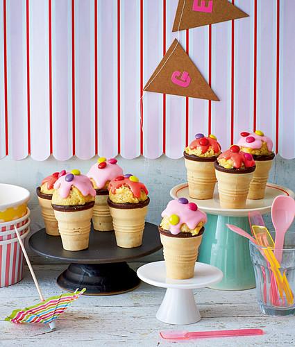 Colourful cake pop cones