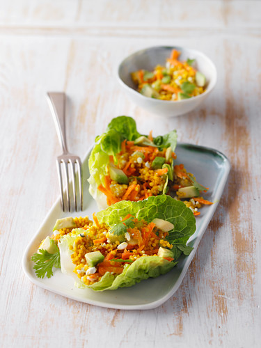 Lettuce wraps filled with coriander and millet