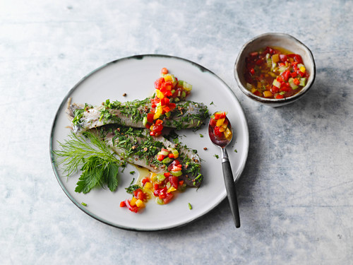 Herb soused herring with a spicy vegetable salsa