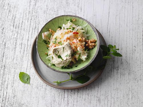Vegan kohlrabi and apple salad with silken tofu
