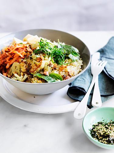 Cauliflower, silken tofu and walnut rice bowl