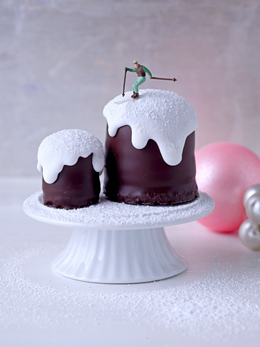 Chocolate kisses with icing and a miniature skier