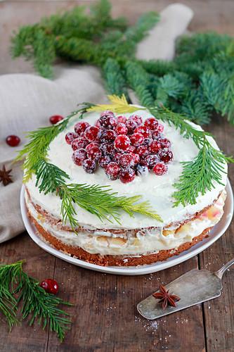 Apfelpunsch-Torte verziert mit Tannenzweigen und gezuckerten Cranberries
