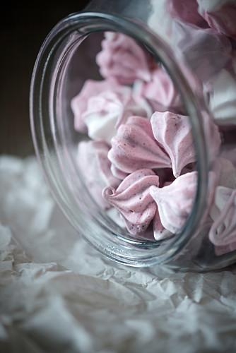 Vegan raspberry meringue is made from a Aquafaba in a sweet jar