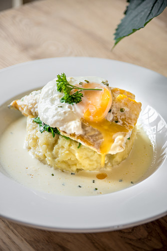 Sea bass fish fillet on a potato mash with runny yolk poached egg garnished with herbs on a white plate and light wooden table