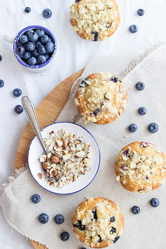 Blueberry nut muffins with crumbles