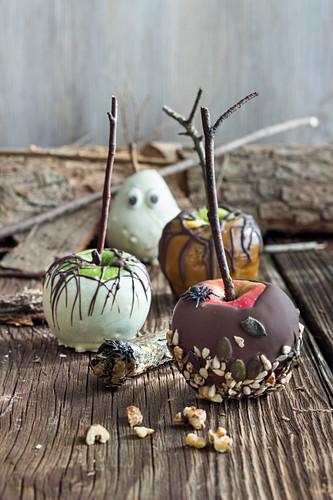Spooky chocolate glazed fruit for Halloween