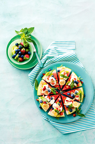 Fruit Pizza in rainbow colors