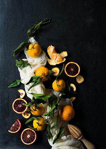 A still life with different oranges varieties on a black background