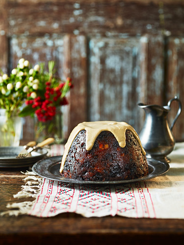 Plum pudding with brandy sauce