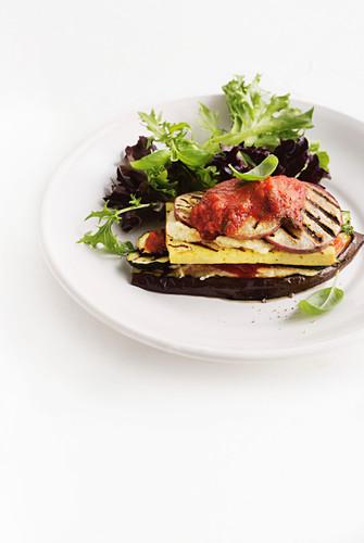 Vegan grilled eggplant, zucchini and tofu stacks with cashews