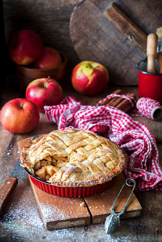 Apple pie with a pastry lattice