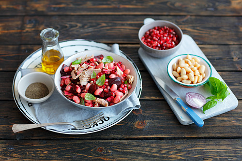 Beetroots, bean and tuna salad with pomegranate