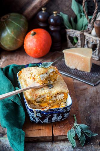 Pumpkin, chicken and sage lasagna