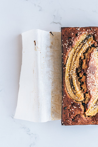 Banana bread with chocolate drops and sesame seeds