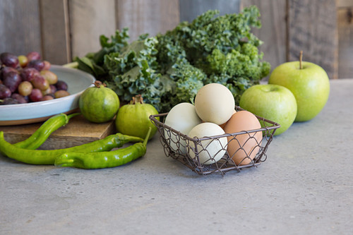 Green vegetables, apples and eggs
