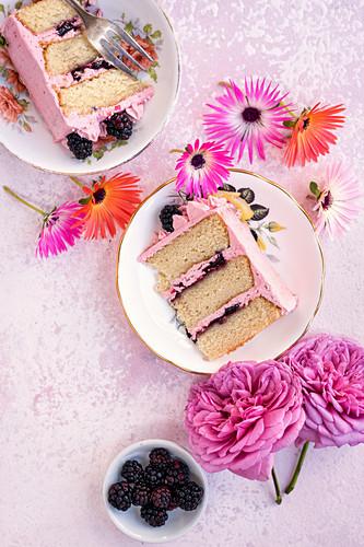 Vanilla layer cake with blackberry buttercream