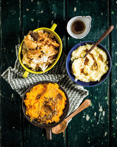 Smashed Spanish-style potatoes, Creamy parsnip and burnt butter mash, Coriander-carrot mash