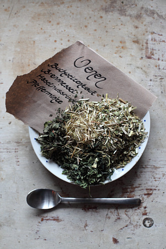 Mix-it-yourself medicinal teas for veins (buckwheat weeds, stinging nettles, hazelnut bark and peppermint)